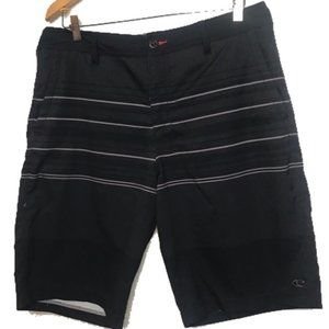 O'Neil Black and Gray Stripe Board Shorts 34